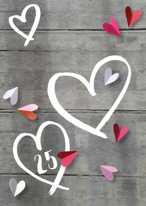 Jubileumkaarten - Uitnodiging jubileum hart hout