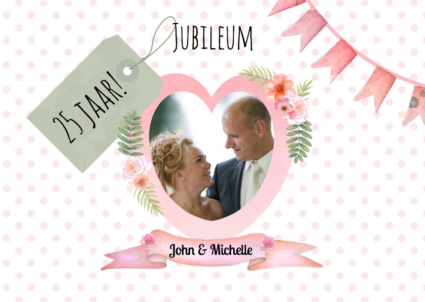 Jubileumkaarten - Uitnodiging jubileum hart label