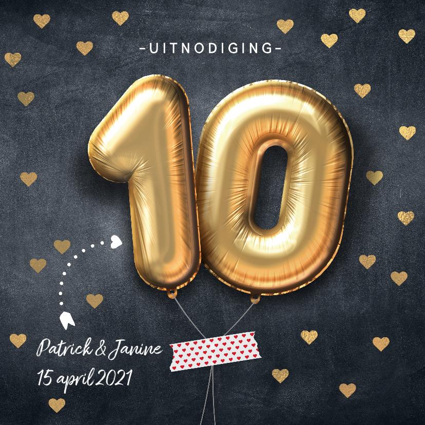Jubileumkaarten - Uitnodiging jubileum huwelijk ballon 10