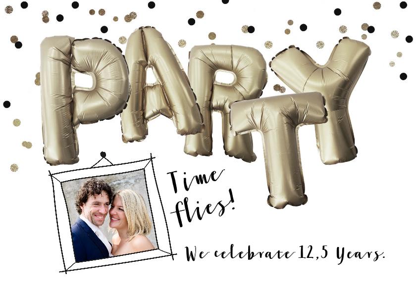 Jubileumkaarten - Uitnodiging jubileum huwelijk party folie ballon illustratie