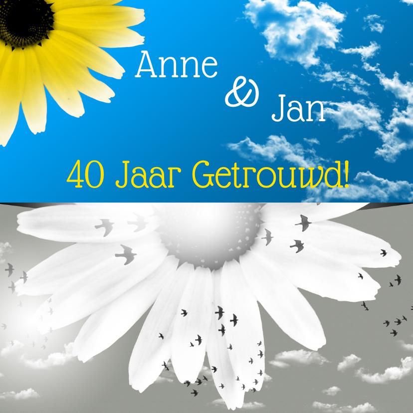 Jubileumkaarten - uitnodiging jubileum lucht en bloemen