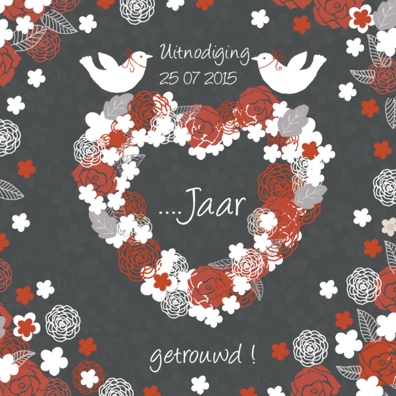 Uitnodigingen - uitnodiging jubileum met hart en duifjes