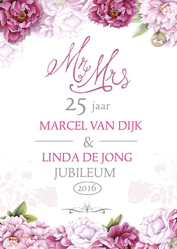 Jubileumkaarten - Uitnodiging jubileum pioenrozen