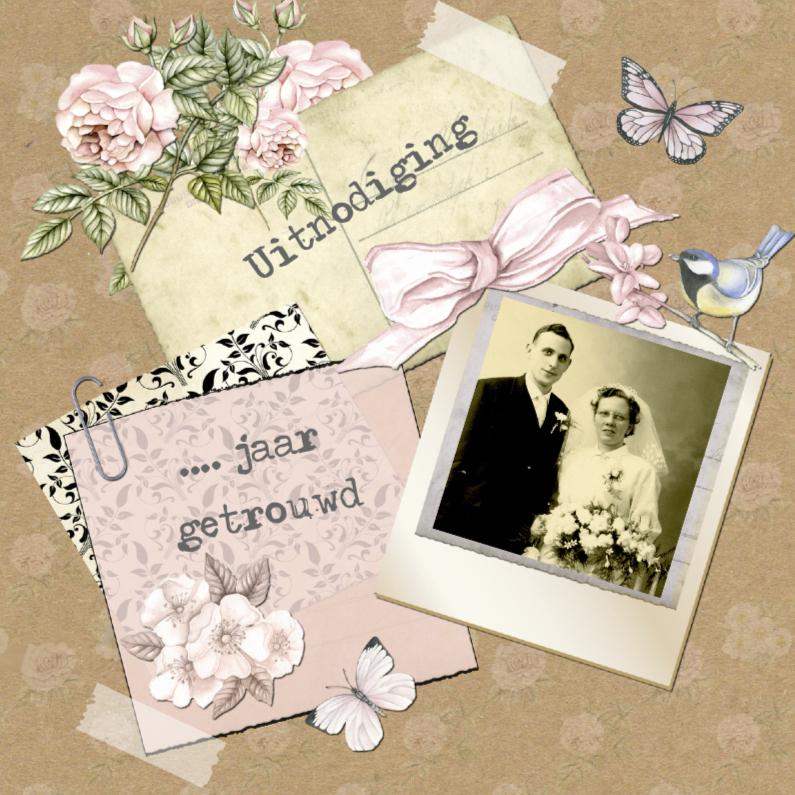 Uitnodigingen - uitnodiging jubileum  postcard vintage