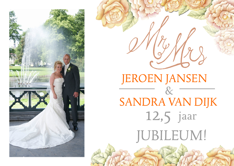 Jubileumkaarten - uitnodiging jubileum rozen