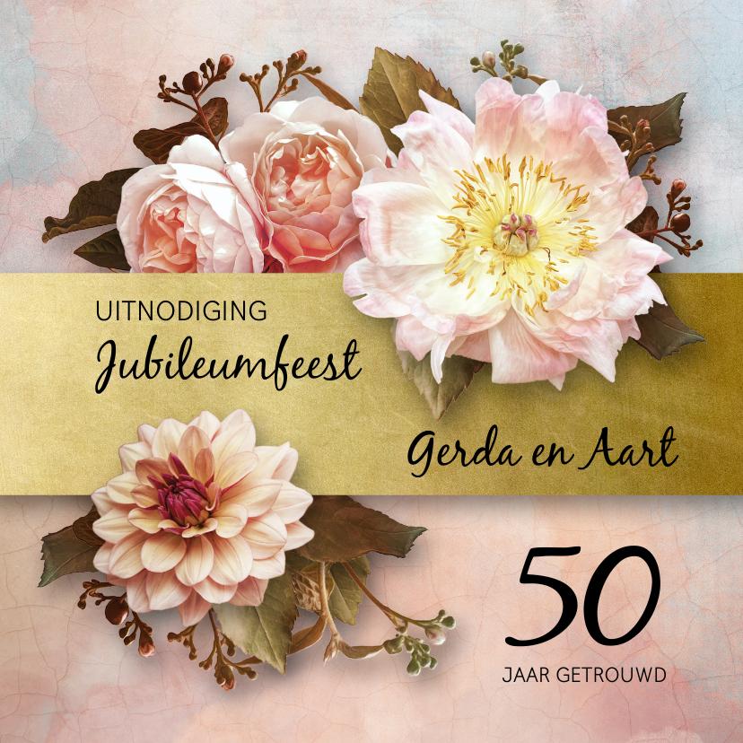 Jubileumkaarten - Uitnodiging jubileum stijlvolle bloemen oude meesters roze