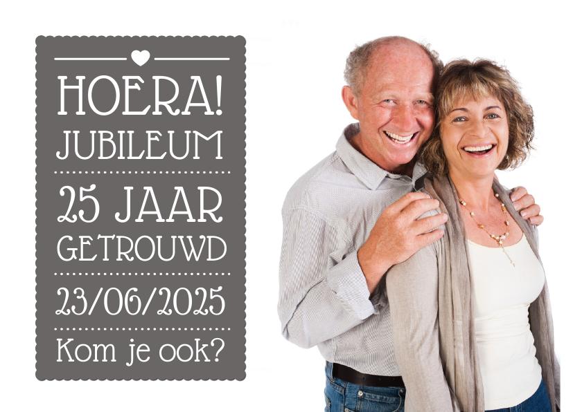 Jubileumkaarten - Uitnodiging Jubileum Tekstvlak