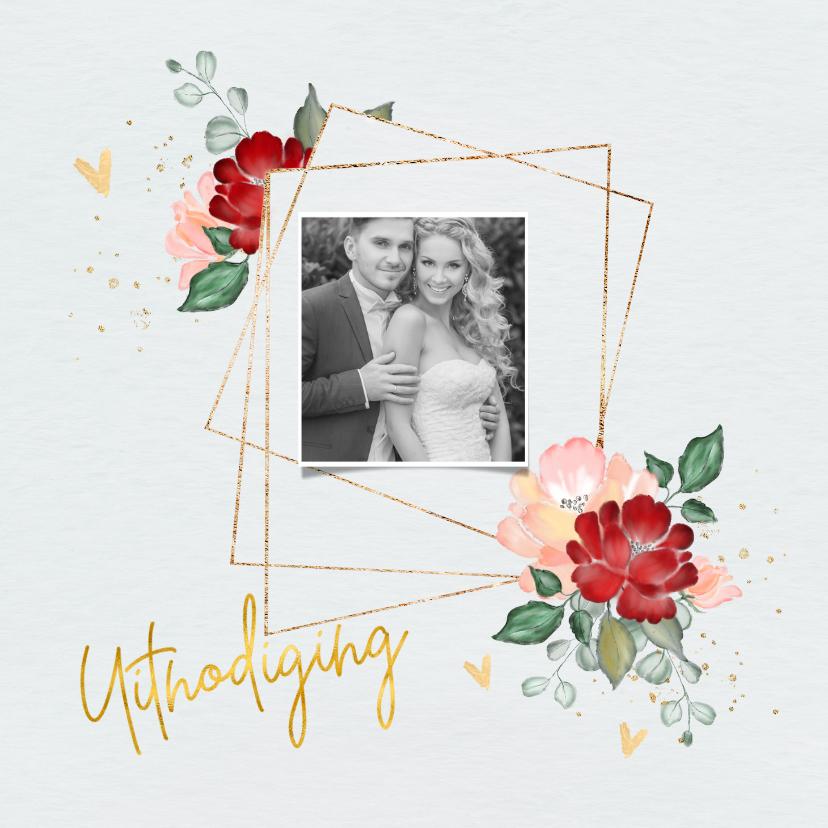 Jubileumkaarten - Uitnodiging jubileum trouwdag met rozen en goud