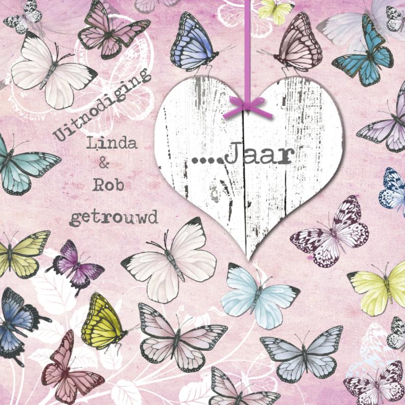 Jubileumkaarten - uitnodiging jubileum vlinders en hart