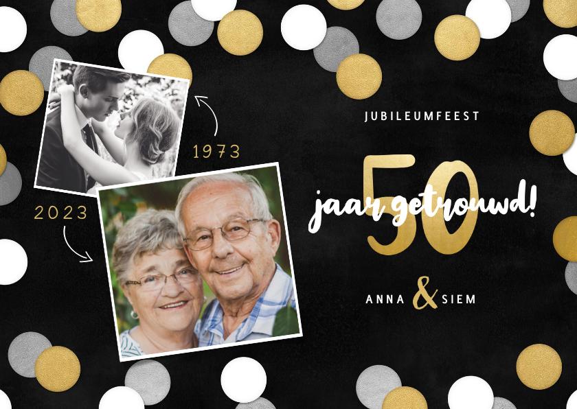 Jubileumkaarten - Uitnodiging jubileumfeest 50 jaar getrouwd confetti & foto's