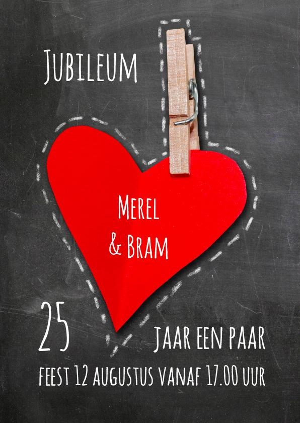 Jubileumkaarten - Uitnodiging krijtbord hart - SG