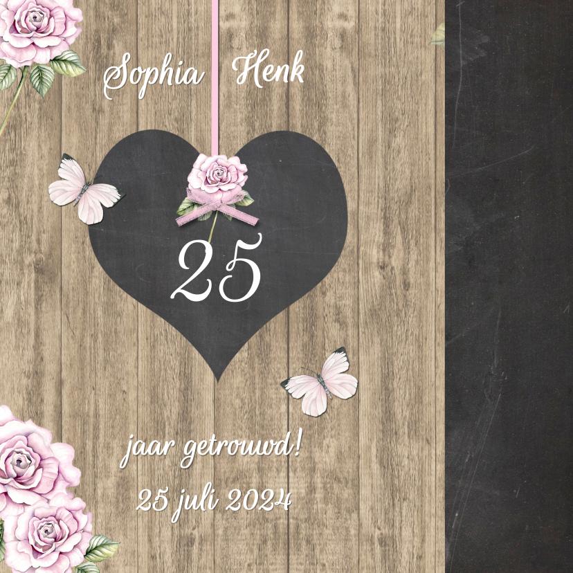 Jubileumkaarten - Uitnodiging krijtbordhart