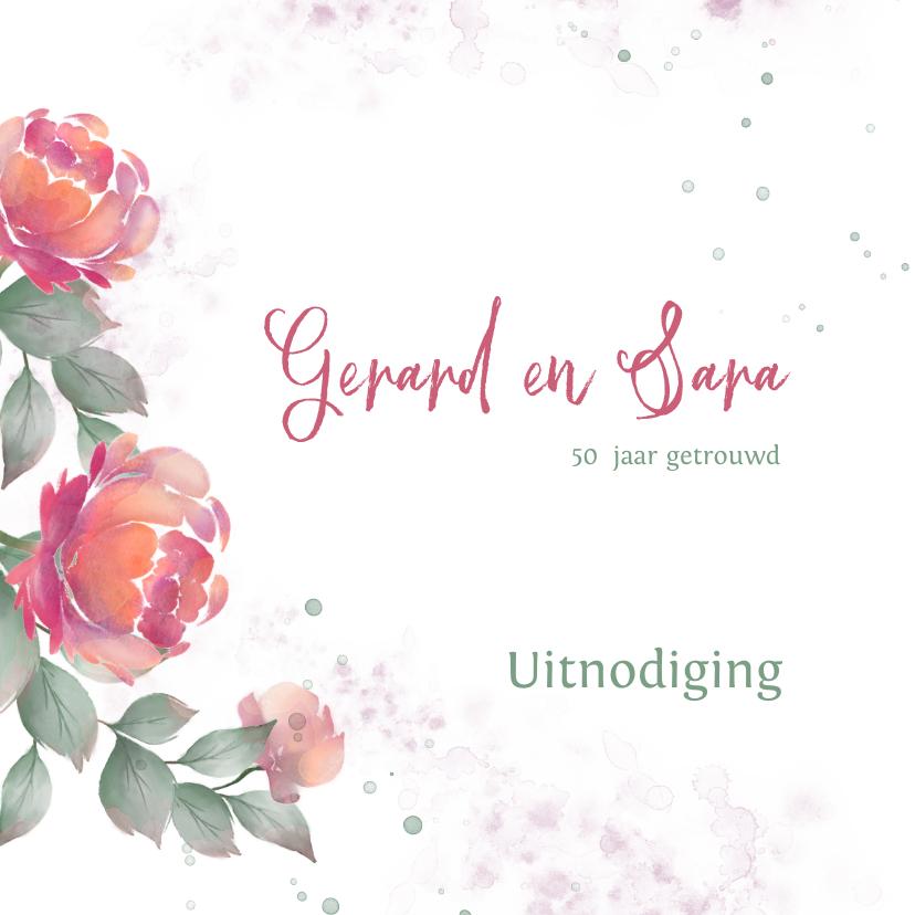 Jubileumkaarten - Uitnodiging met rozen waterverf huwelijksjubileum