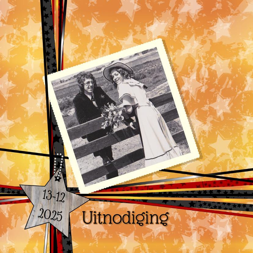 Jubileumkaarten - Uitnodiging Oranje lint foto