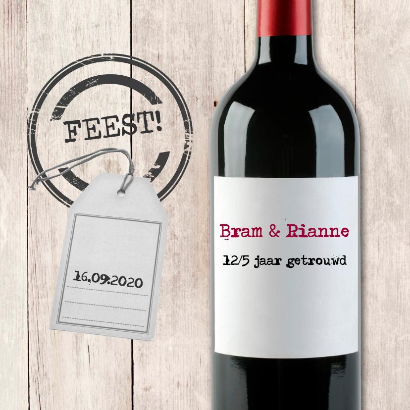 Uitnodigingen - Uitnodiging rode wijn met label