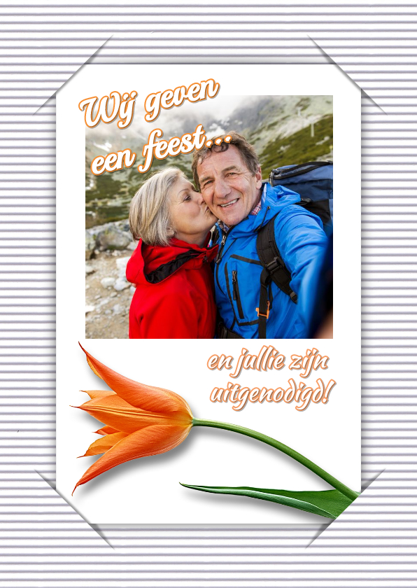 Jubileumkaarten - Uitnodiging selfie feest RB1