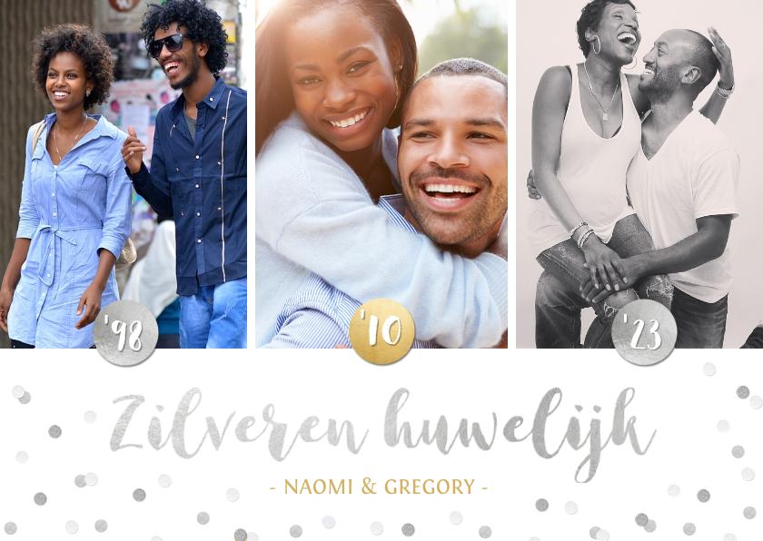 Jubileumkaarten - Zilveren huwelijk 25 jaar getrouwd kaart met 3 eigen foto's