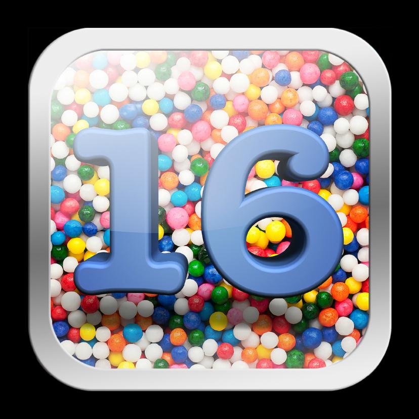 16 jaar app met vrolijke achtergrond 1