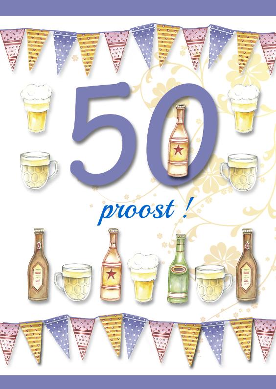 50 jaar met bierflesjes en vlaggetjes 1