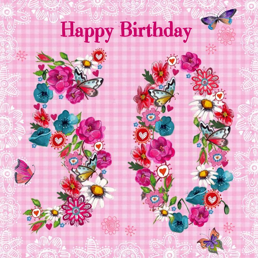 50 jaar Verjaardag Bloemen Vrolijk 1