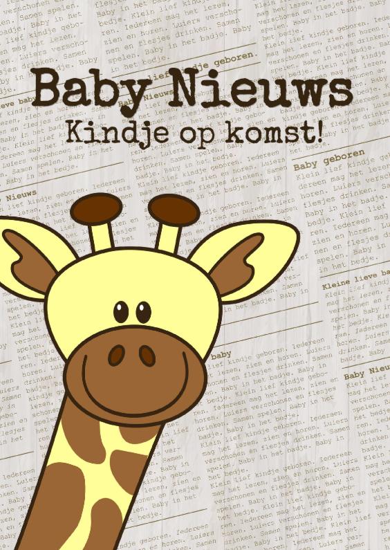 Baby nieuws! Giraffe krantprint 1