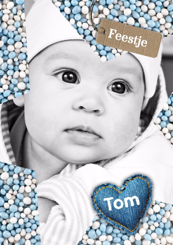 Babyfeestje Ster muisjes blauw 1