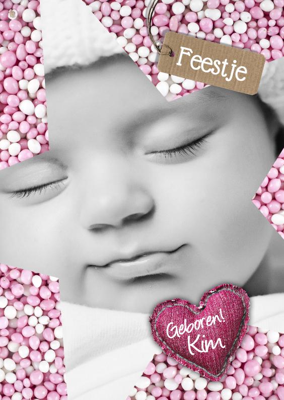 Babyfeestje Ster muisjes roze 1