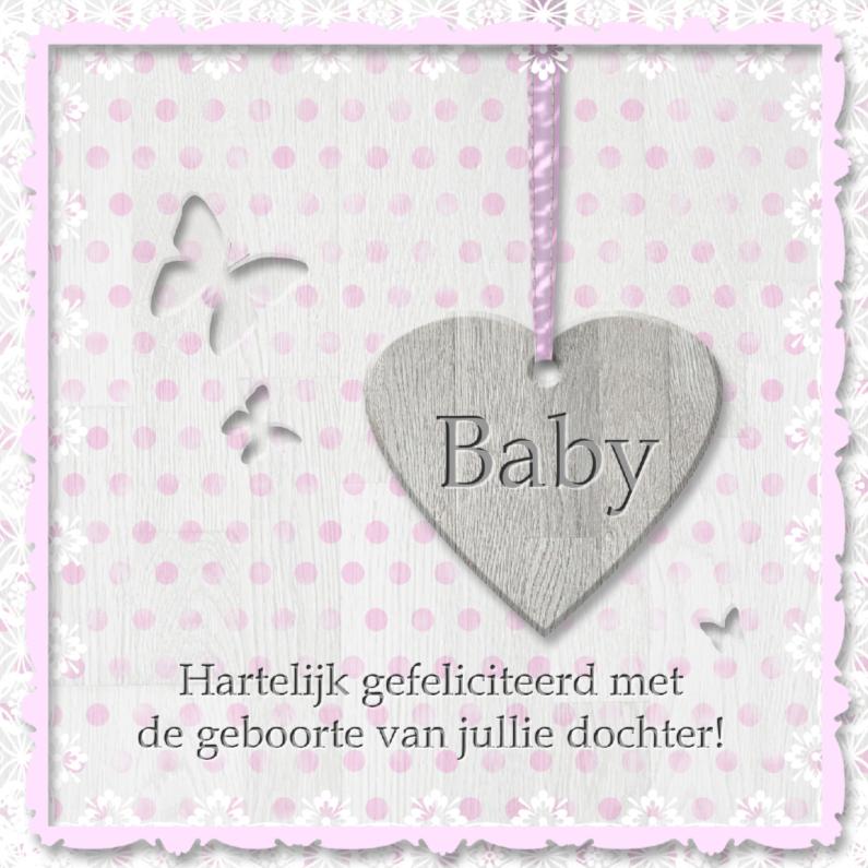 Babyhart roze met vlinders 1