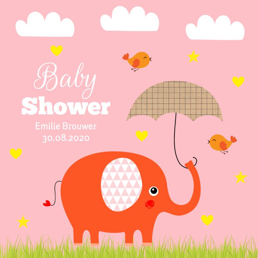 Babyshower olifantje roze 1