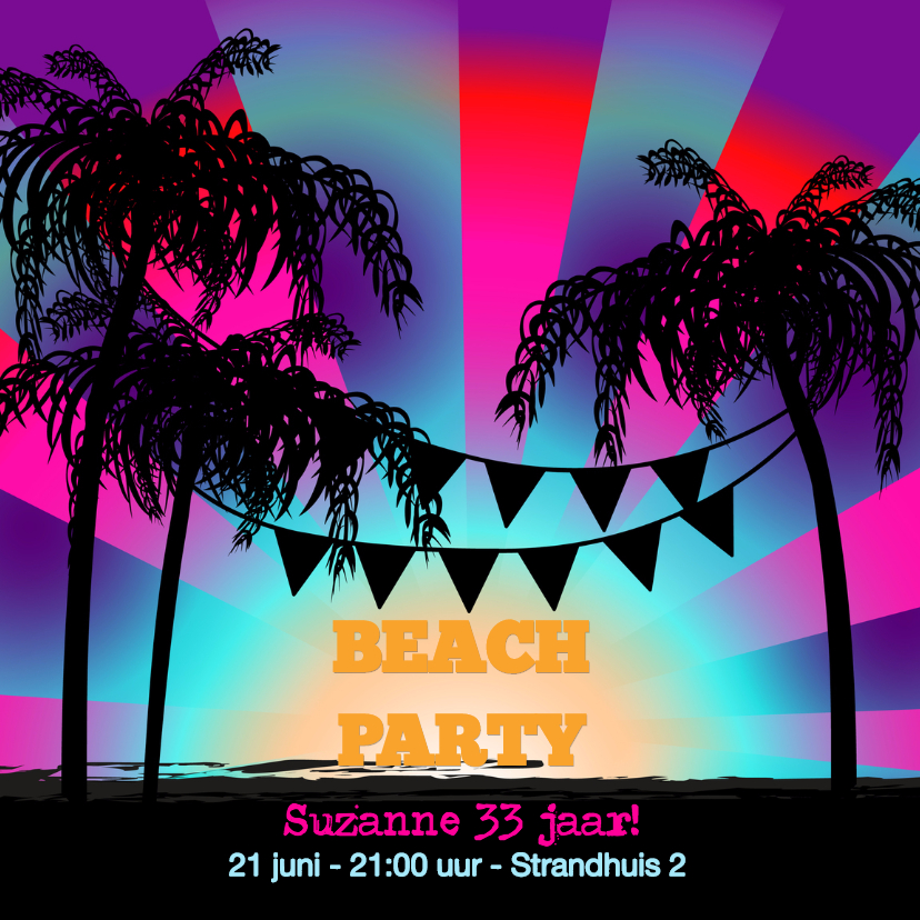 BEACH PARTY uitnodiging 1