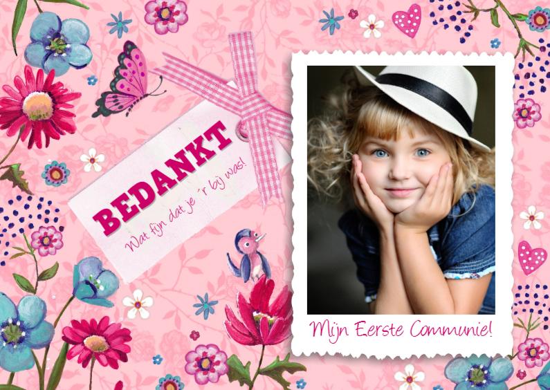 Bedankkaart Communie Roze Bloemen 1