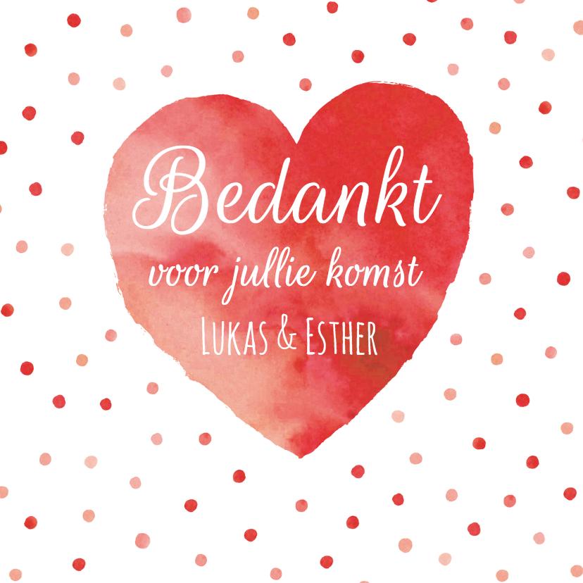 Bedankkaart rood hart confetti 1