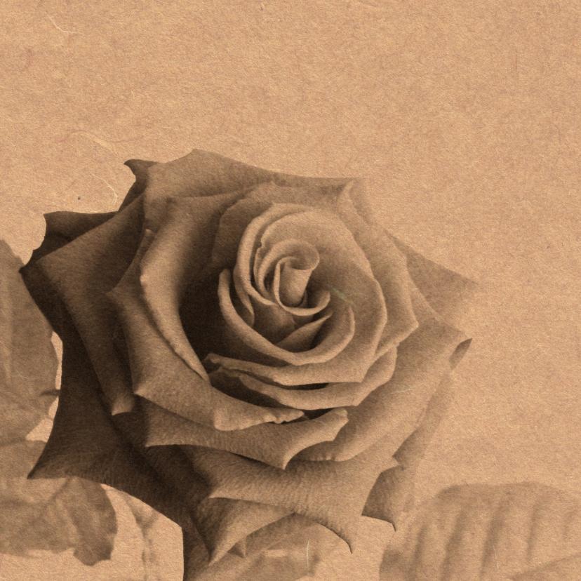 Bedankkaart roos op karton  1