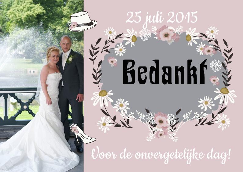 Bedankt huwelijk retro trouwkaarten kaartje go
