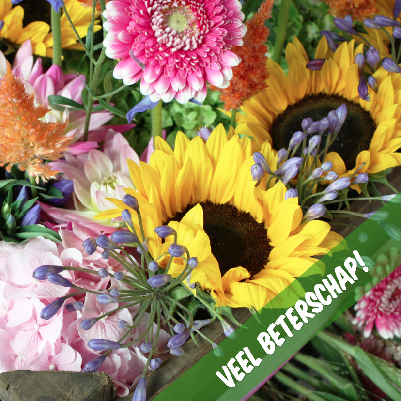 Beterschap boeket zonnebloemen