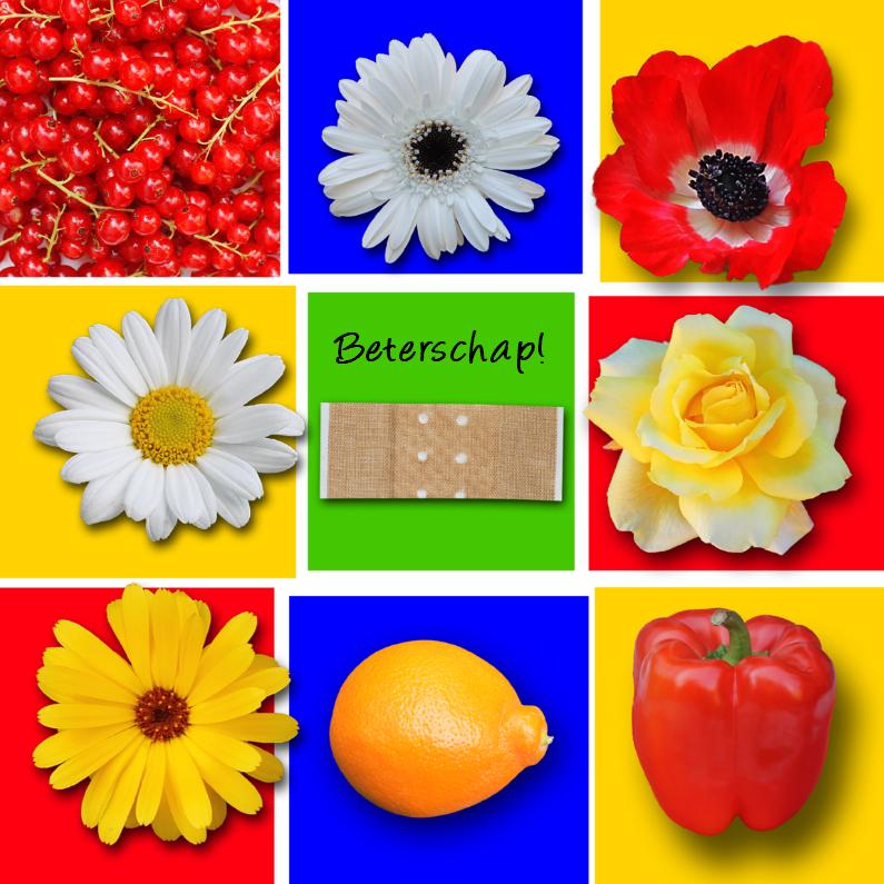 Beterschap, met bloemen en fruit 1