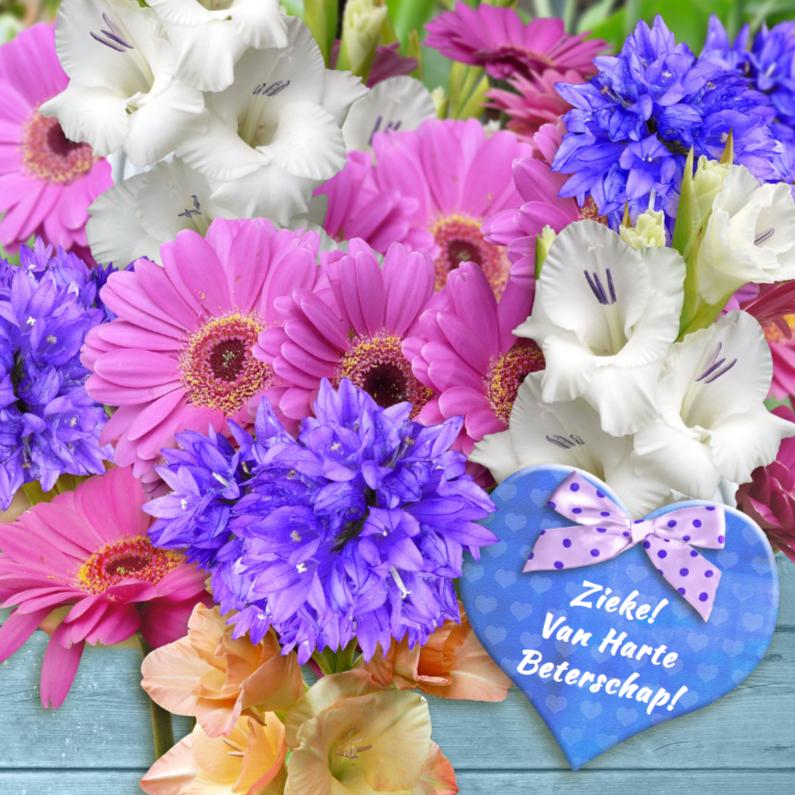 Beterschap met gladiolen en hart 1