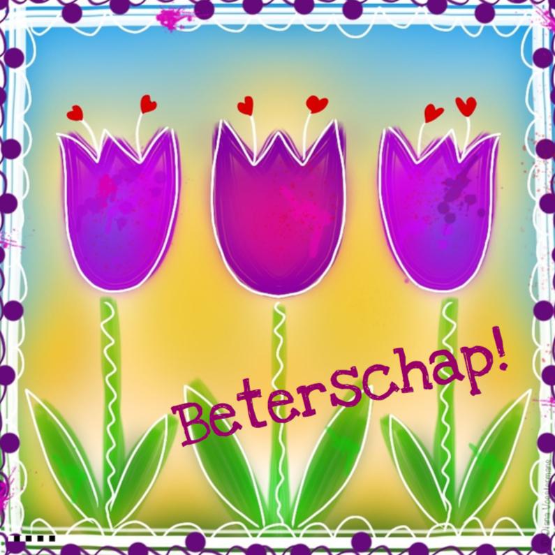Beterschap paarse tulpen en rode hartjes 1
