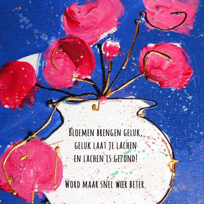 Beterschapskaart roze bloemen 2