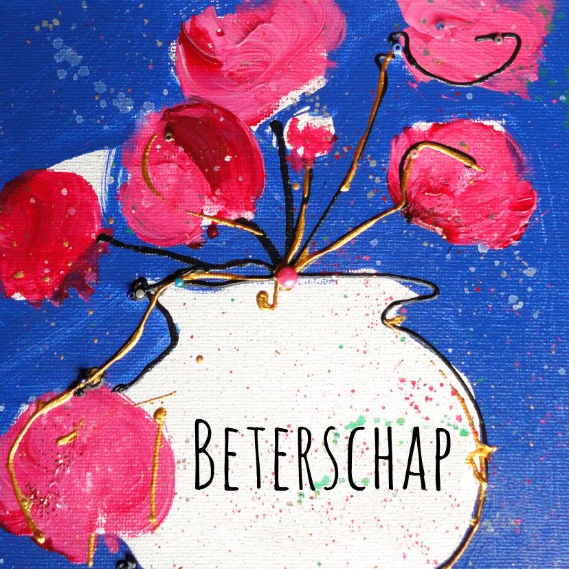 Beterschapskaart roze bloemen 1