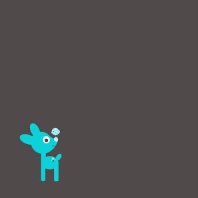 Blauw hertje met vogeltje 2