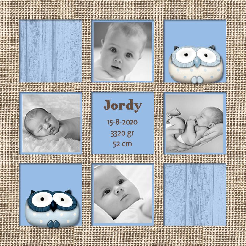 Blauwe geboortekaart vakken 1