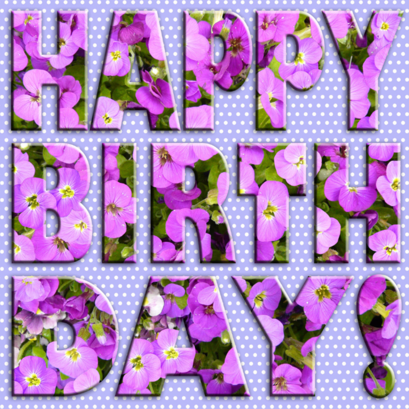 Bloemen tekst Birthday stippen 1