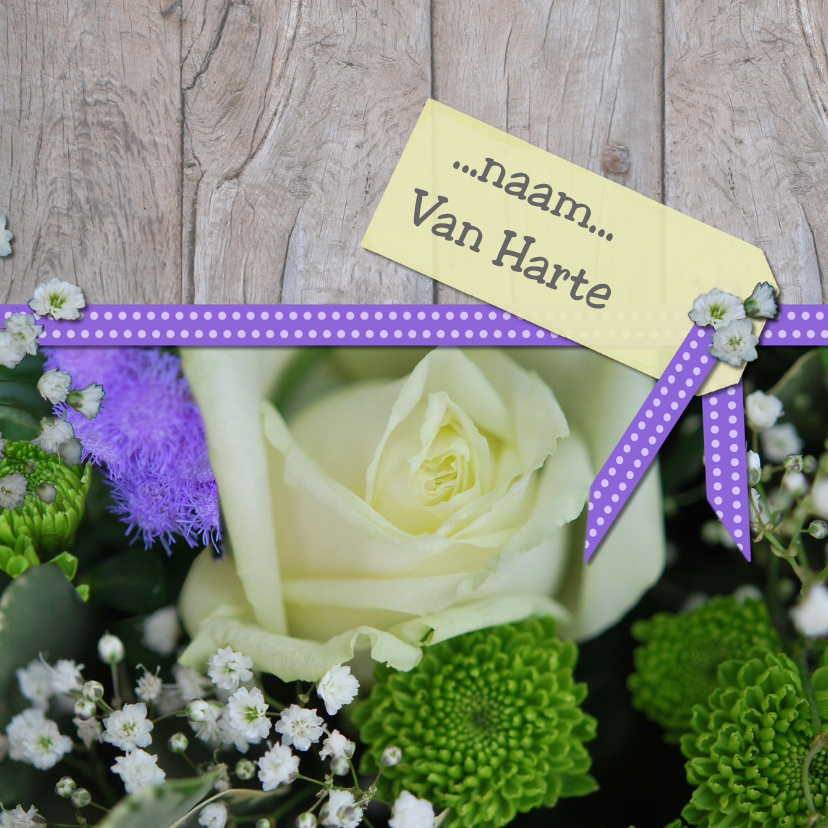 Bloemenkaart lint hout wit paars 1