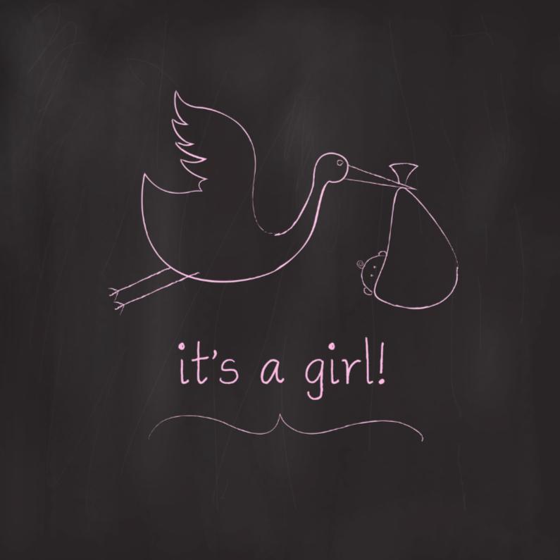 Chalkboard Ooievaar Meisje 1