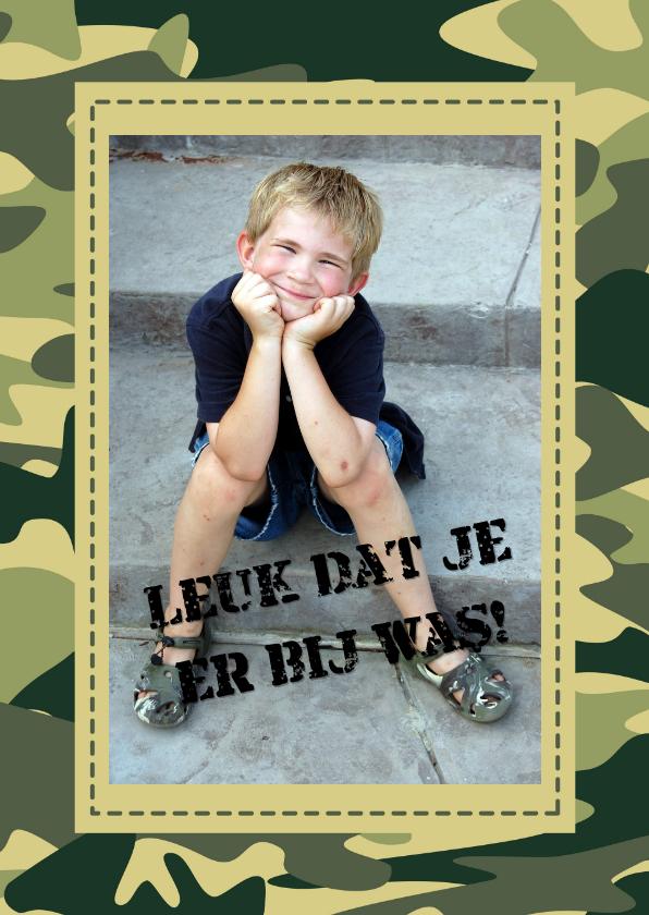 Communie bedankkaart groen camouflage 1