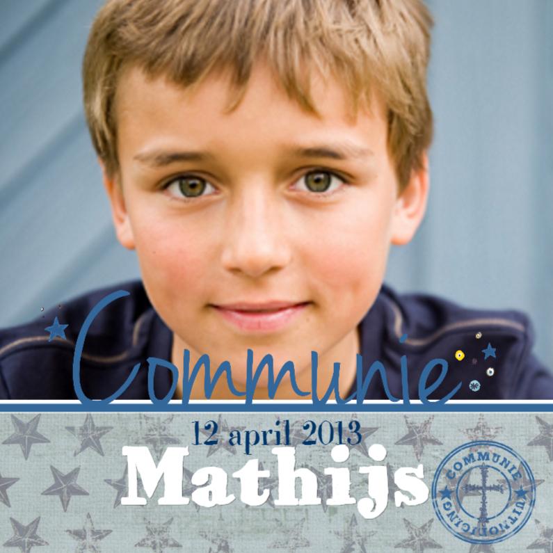 Communie Sterren Jongen Stempel Blauw 1