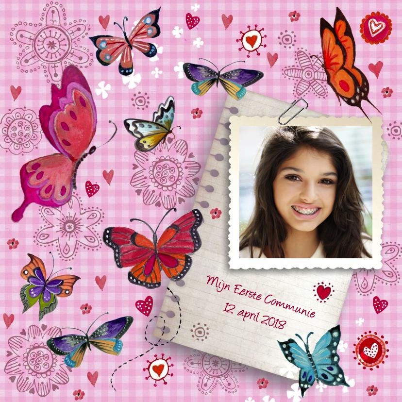Communie Vlinders Bloemen BB meisje roze 1