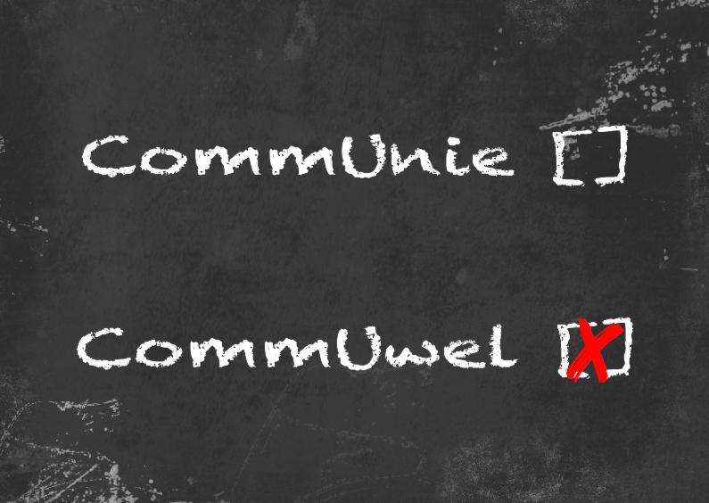 Communie wel niet krijtbord b 1