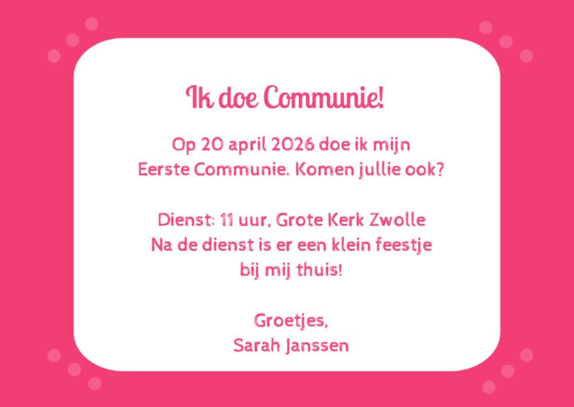 Communie zuurstok roze - DH 3